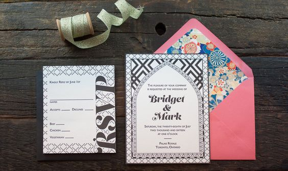 Bridget Invitation Suite Featuring graphic geometric pattern mixing and bold typography the Bridget suite is a high impact invitation blending various art periods into one cohesive look.