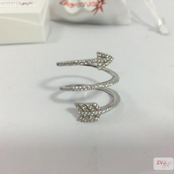 Zilveren zirkonia spiraal pijl ring - ZilverVoorJou Echt 925 zilveren sieraden
