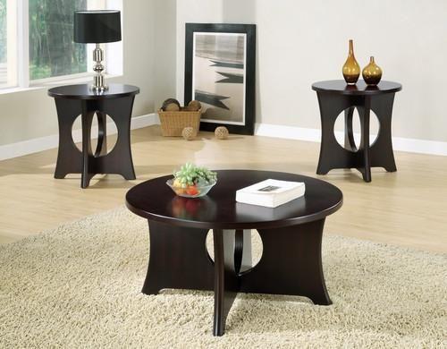 Dark Espresso Veneer Top 3pcs Table Set Coffee Table 3 Piece