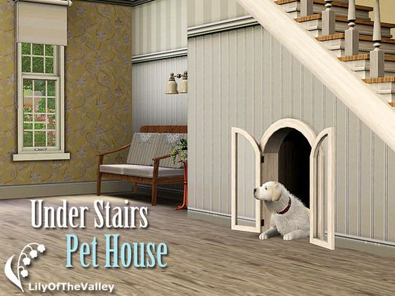 LilyOfTheValley's Under Stairs Pet House ASHTON: I thought this was genius/the cutest thing ever! DOWNLOAD AT: http://www.thesimsresource.com/themes/ShabbyChic/downloads/details/category/sims3-sets-objects-pets/title/under-stairs-pet-house/id/1128516/ CREATOR: LilyOfTheValley NAME: Under Stairs Pet House: