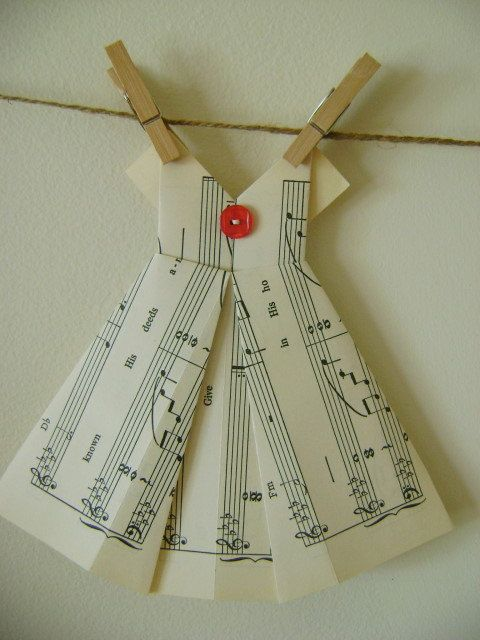 origami dress from sheet music origami pinterest