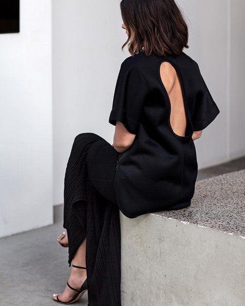 Pin for Later: 25 Outfit-Ideen für die Firmen-Weihnachtsfeier Ein simples Kleid mit einem Ausschnitt am Rücken