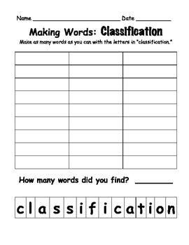 Making Words Worksheet - Synhoff