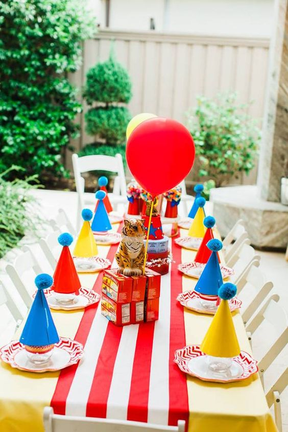 """Circus Party Table from """"The Greatest Showman"""" Circus Birthday Party on Kara's Party Ideas 