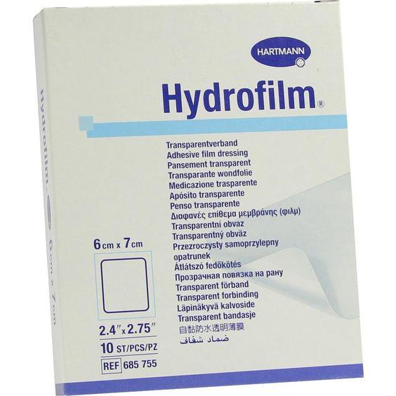 HYDROFILM Transparentverband 6x7 cm:   Packungsinhalt: 10 St Verband PZN: 04601274 Hersteller: PAUL HARTMANN AG Preis: 14,90 EUR inkl. 19…