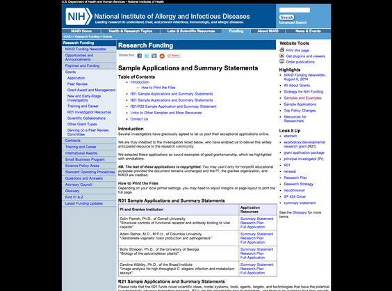 Sample R01 and R21 Applications and Summary Statements, from NIH