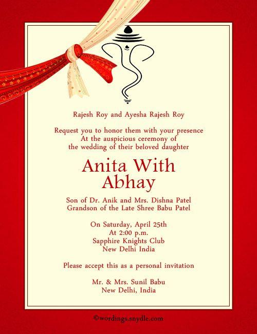 hindu indian wedding invitation wording  wedding