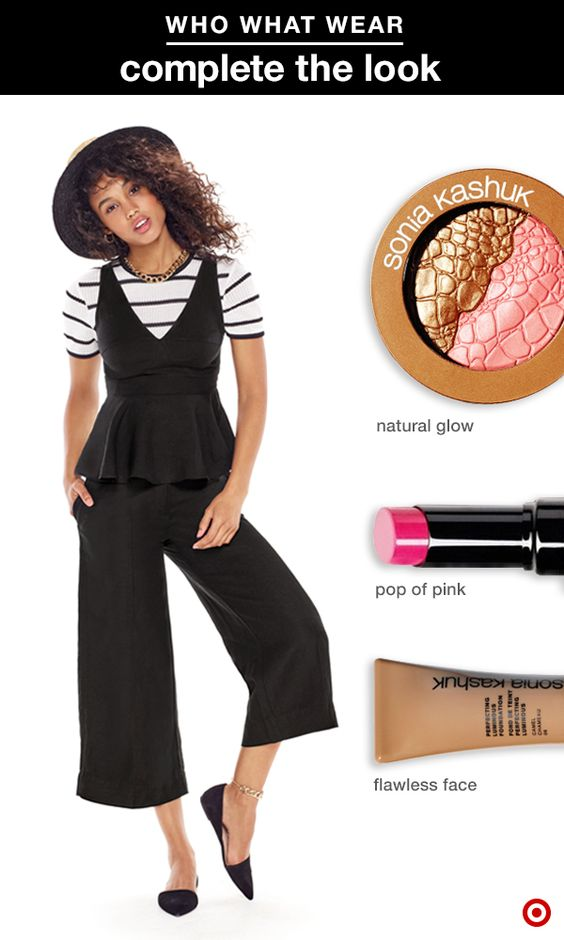 Get a look that'll go with your summer street style in just 3 easy steps. We're loving these layers from Who What Wear. Pair them with Sonia Kashuk Perfecting Luminous Foundation for flawless, radiant skin. Then add a subtle glow with Sonia Kashuk Chic Luminosity Bronzer/Blush Duo. Finish with a fresh pop of color on your pout with Sonia Kashuk Moisture Luxe Tinted Lip Balm in Hint of Pink.