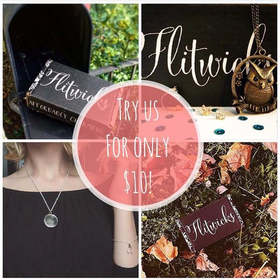 You guys asked for it!  New members can now try our box for only $10 for their first month!  Use coupon code NEWMEMBER at checkout!  Tag your friends!  Flitwicks.com . . #subscriptionbox #jewelry #fashion #bookstagram #subscriptionboxes by flitwicksbox