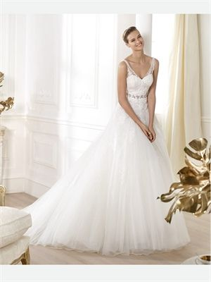 White A Line Sweetheart Beading Lace Tulle 2014 Wedding Dresses