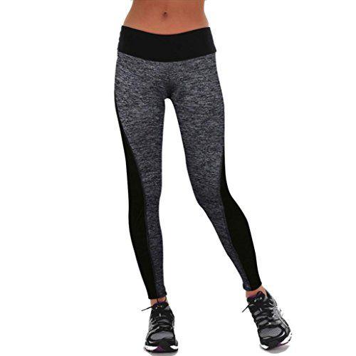 FEITONG Las mujeres se divierte los pantalones de las polainas del Athletic Gym Yoga Fitness Workout Pantalones (L, Gris) #camiseta #starwars #marvel #gift
