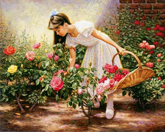Rose garden painting rose garden blossom photos and for Gardening is my passion