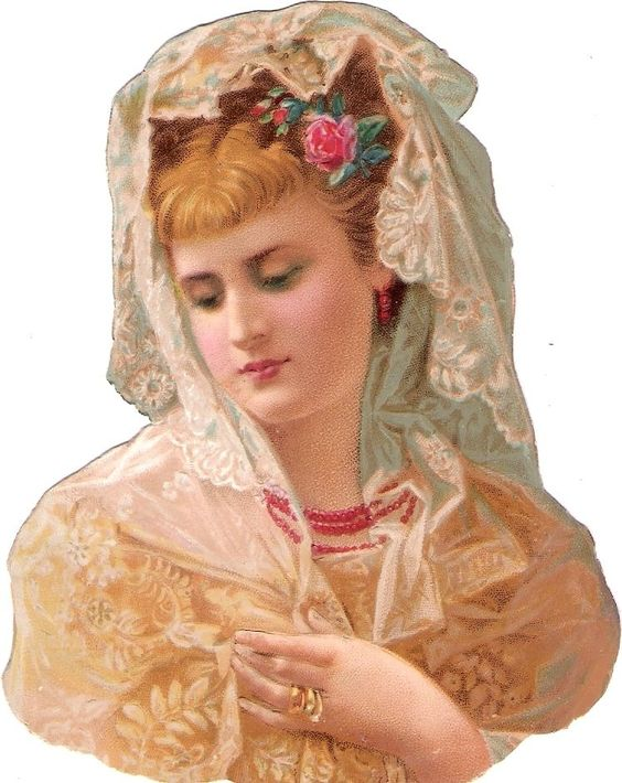Oblaten Glanzbild scrap die cut chromo Braut 12,4cm bride Lady Dame girl head: