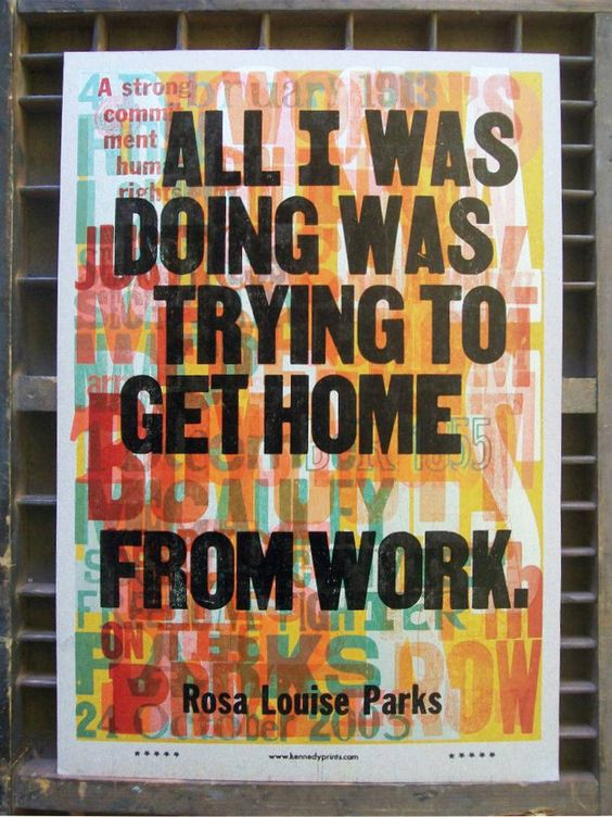 AMOS KENNEDY JR. Reivindicación de Rosa Louise Parks, la primera ciudadana afroamericana que se negó a dar su asiento a un blanco en el colectivo.
