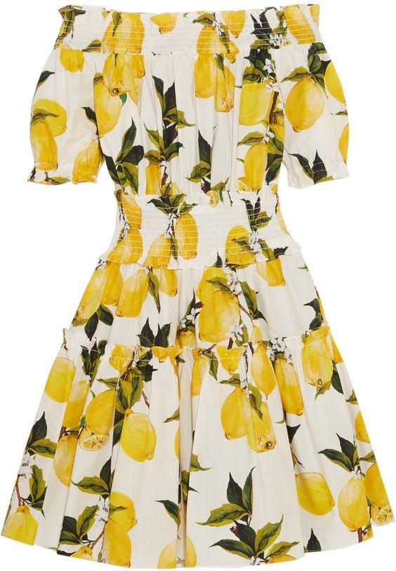 Dolce & Gabbana Smocked printed cotton-poplin mini dress