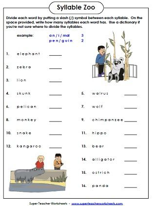Syllable Zoo is a fun phonics worksheet in which students count ...