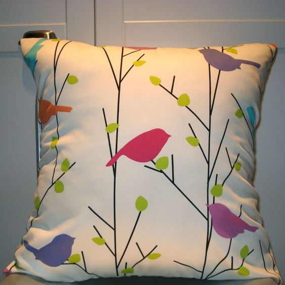 @Cathy Hough-for you:)               New 18x18 inch Designer Handmade Pillow Case in cream with color birds.. $20.00, via Etsy.