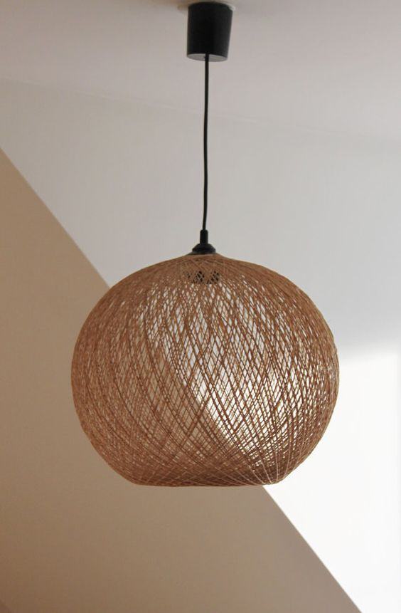 pendant lighting woven straw wicker chandelier suspension lampshade vintage lamp france. Black Bedroom Furniture Sets. Home Design Ideas