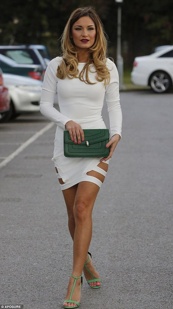 What a knockout! Sam Faiers looked sensational in a cream dress that fitted her like a glove as she watched former love Lewis Bloor in a swe...