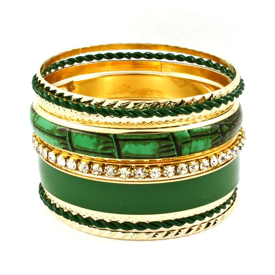 Forest Green Multi Bangles - Set of 9