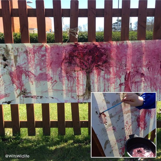 Why not have a go at wild art with the kids? Save buying shop-bought products by using natural paints like crushed berries, grasses and mud! @wiltswastewatch   #painting #children #nature #wastefree #preschool #artwork #messyplay