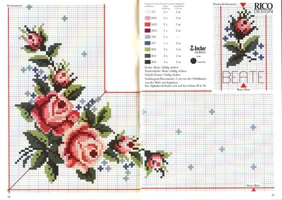 cross stitch table cloth pattern kanaviзe masa цrtьsь etamin xstitch rose: