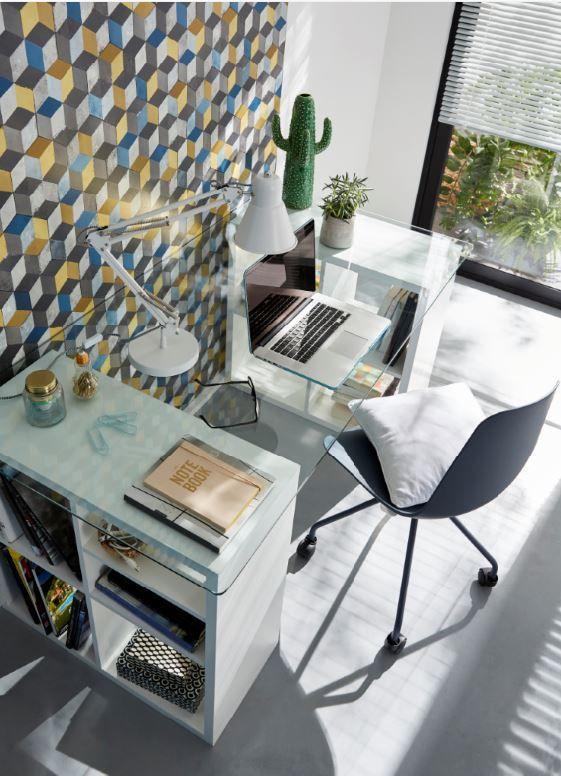 plateau en verre mobilier bureau