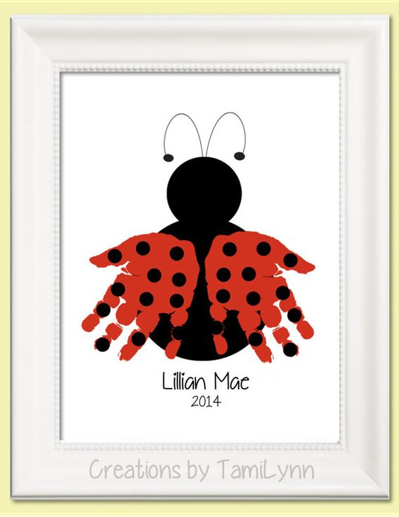 Ladybug Handprint Art  Personalized Baby by CreationsbyTamiLynn, $20.00: