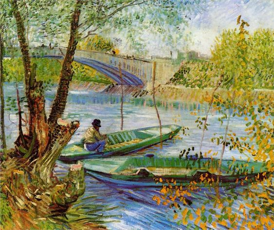 Vincent van Gogh: Fishing in the Spring, 1887. Painted while living in Paris.  Chicago, Art Institute of Chicago, gift of Charles Deering McCormick, Brooks McCormick, and Roger McCormick.: 1853 1890, Art Vincent, Gogh Painting, Vincentvangogh, Vincent Van Gogh, Art Painting, Oil Painting