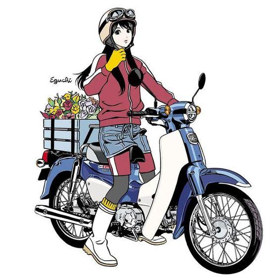 スーパーカブ誕生60周年記念の江口寿史イラストTシャツがネットでも販売中! 女の子がカブに跨っているPOPな広告イラストがモチーフ - ネタとぴ