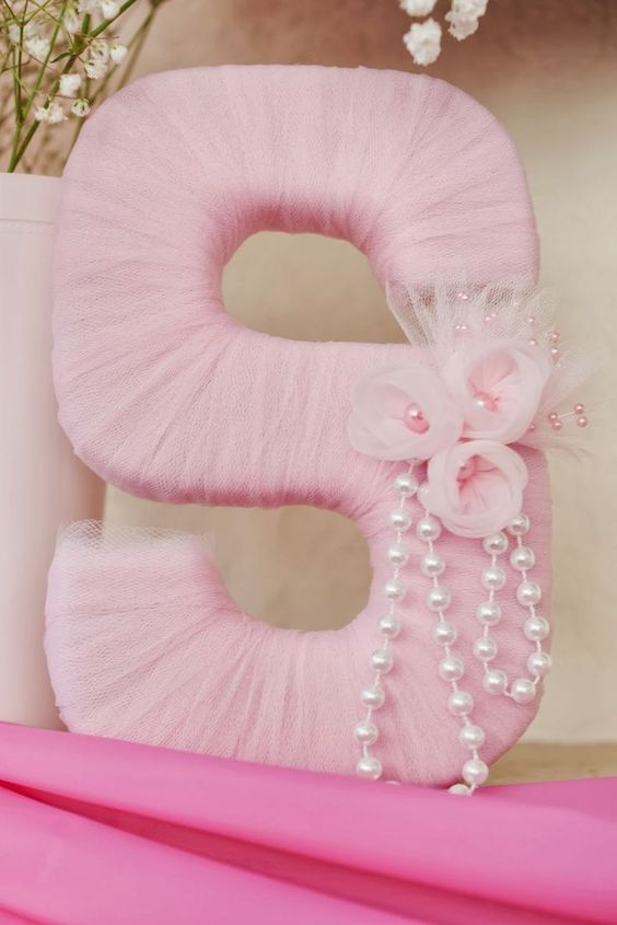Tutu Baby Shower: Tulle Letter Nursery Decor Gift A blue 1 would work for her birthday :)