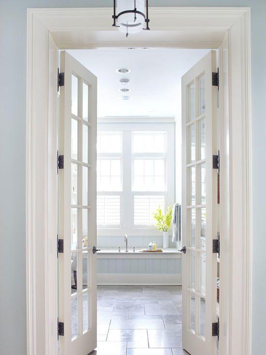 A Soothing Master Bathroom Retreat French Doors Interior Doors