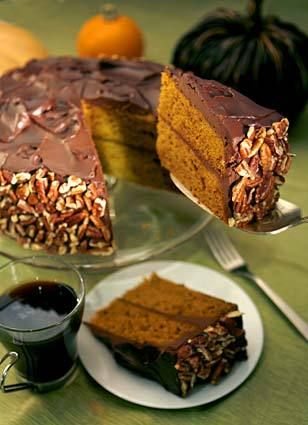 Pumpkin and chocolate make a unique pairing in moist cake iced with sour cream-laced ganache. Click here for the recipe.