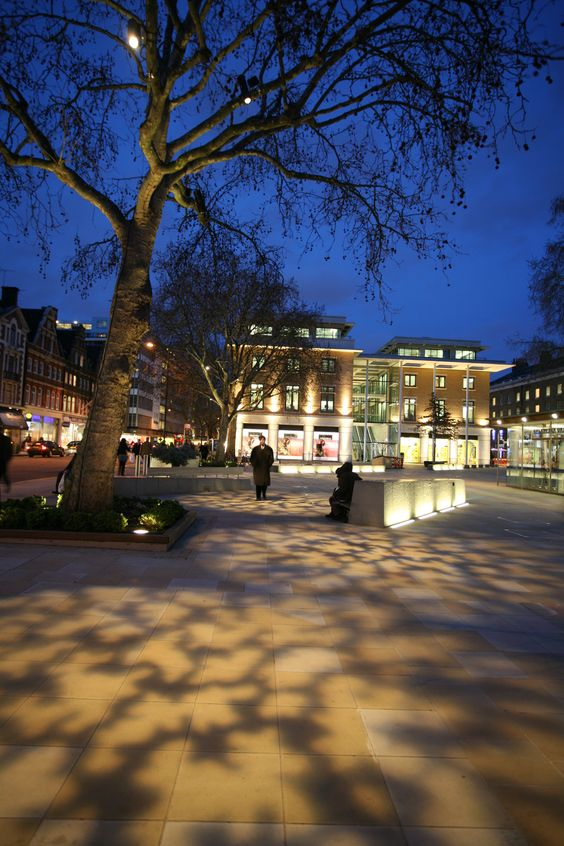 Duke of York's Square, Chelsea. Lighting design by DPA Lighting Design.  A Guide to Implementing Successful #LightingLandscapes within the Public Realm.