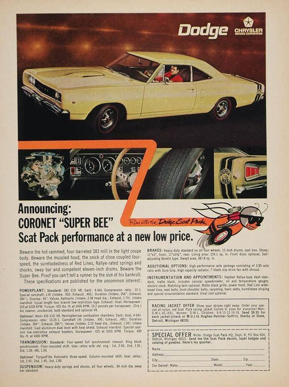 1968 Dodge Ad 05 Muscle Car Ads Mopar Car Ads