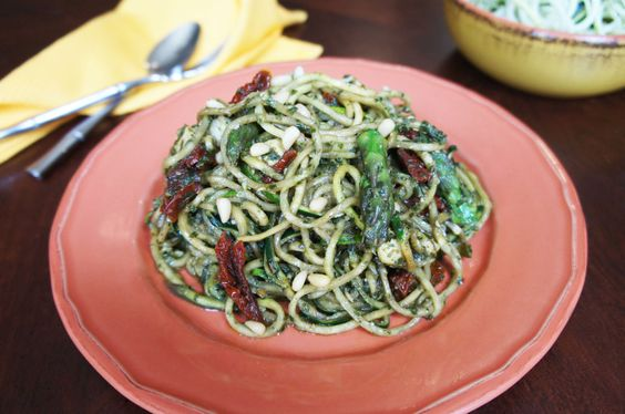 """Pesto Chicken """"Pasta"""" - leave out the sun dried tomatoes & nuts to make AIP :)"""