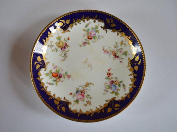 Vintage royal blue / gold swirl ring dish by JazzHandsCo on Etsy
