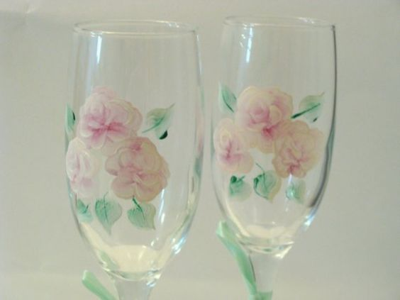 Pink Roses Long Stem Champagne Glasses Hand by CANADIANCREATIONZ