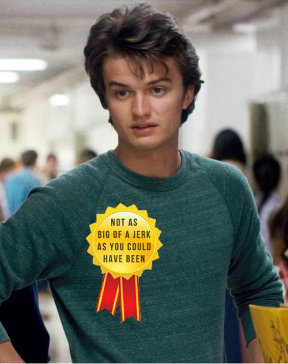 """""""I finished Stranger Things in 24 hours and had very mixed feelings on Steve""""《 yeah steve is...eh"""