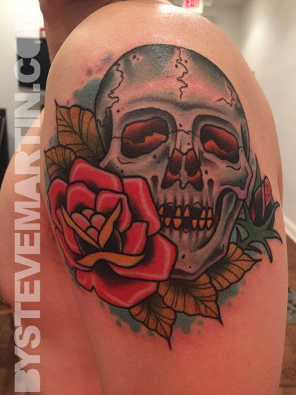 neo-traditional skull and rose tattoo | Tattoos ...