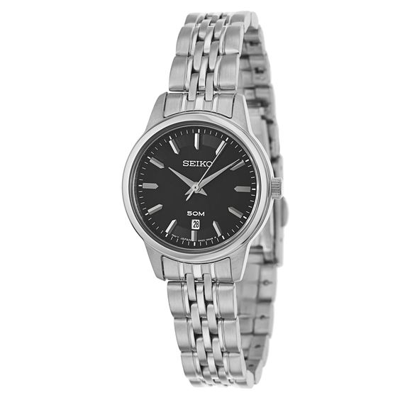 Combining tones of silver and black, this Seiko women's watch is a modern and versatile timepiece. A Hardlex crystal keeps the dial protected and ensures durability, while Japanese-quartz construction provides ultra-precise indications.
