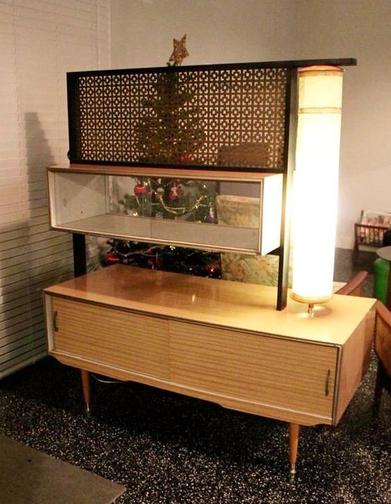 Mid Century Retro Room Divider And Lighted Shelving