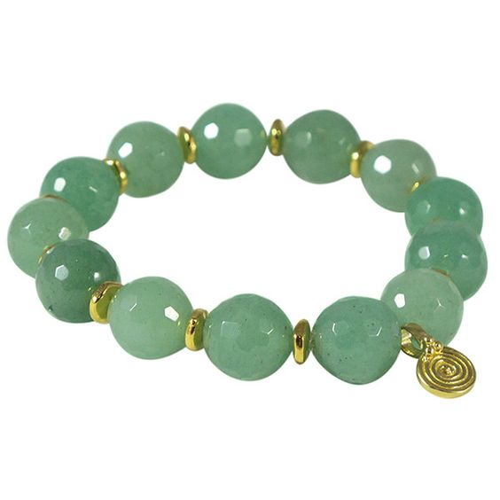 Eye of the Sea Beaded Aventurine Bracelet ($78) ❤ liked on Polyvore featuring jewelry, bracelets, aventurine jewelry, beaded jewelry, spiral bracelet, beading jewelry and charm bracelet: