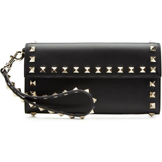 Valentino Leather Rockstud Wallet (3,230 CNY) ❤ liked on Polyvore featuring bags, wallets, black, valentino wallet, genuine leather bags, leather wallets, leather wristlet wallet and decorating bags