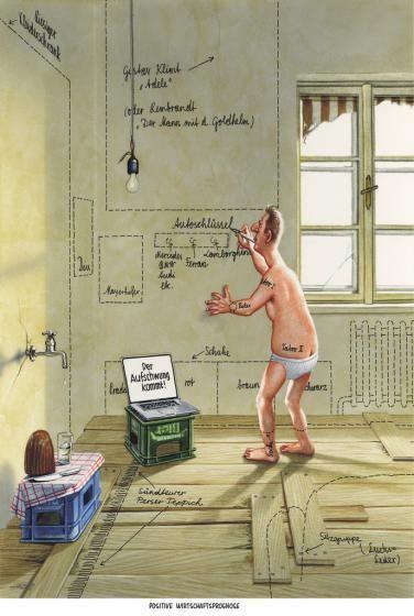 """Haderer-Karikatur vom 9. November 2013: """"Positive Wirtschaftsprognose"""" (Bild: Haderer)"""