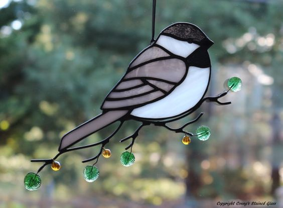 Chickadee Stained Glass Suncatcher by connysstainedglass on Etsy
