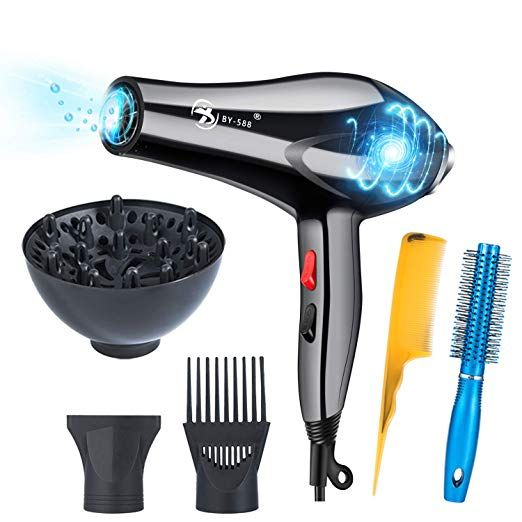 Hair Dryer Professional 3000w Negative Ionic Low Noise Hairdryers With Diffuser Nozzle And Comb Us Made Lab Tested Amazon Vine Review Hair Dryer Professional Hair Dryer Ionic Hair Dryer