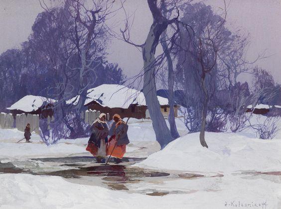 STEPAN KOLESNIKOV Winter Landscape Gouache 5.5″ x 7.5″: