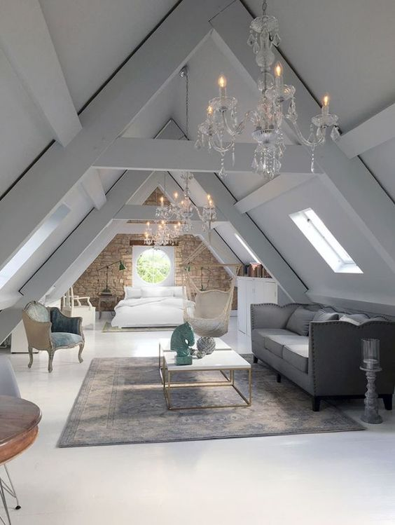 Chandeliers in the attic. My ceilings are too low but this would be quite nice