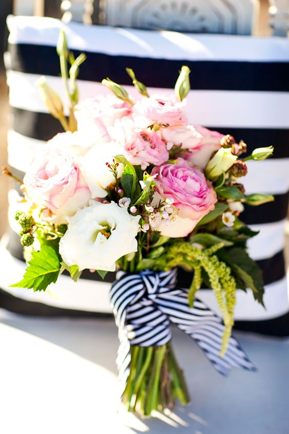 back and white stripe bouquet wrap // photo by AK Studio Design, flowers by Bloomers #Gabrielco